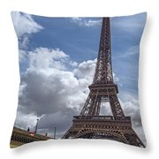 Eiffel Tower And Pont D'lena Throw Pillow