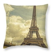 Eiffel Tower And Pont D'lena Vintage Throw Pillow