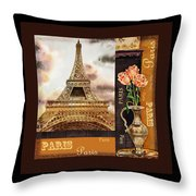 Eiffel Tower And Roses Throw Pillow