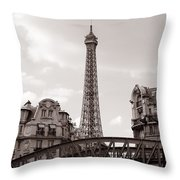 Eiffel Tower Black And White 3 Throw Pillow by Andrew Fare
