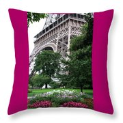 Eiffel Tower Garden Throw Pillow