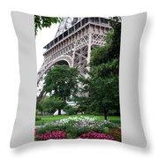 Eiffel Tower Garden Throw Pillow
