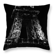 Eiffel Tower Illuminated At Night First And Second Decks Paris France Black And White Throw Pillow