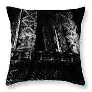 Eiffel Tower Illuminated At Night First Floor Deck Paris France Black And White Throw Pillow