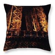 Eiffel Tower Illuminated At Night First Floor Deck Paris France Throw Pillow