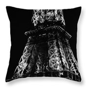 Eiffel Tower Illuminated Midsection At Night Paris France Black And White Throw Pillow