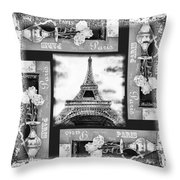 Eiffel Tower In Black And White Design I Throw Pillow