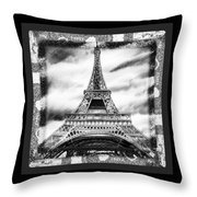 Eiffel Tower In Black And White Design II Throw Pillow