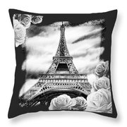 Eiffel Tower In Black And White Design IIi Throw Pillow