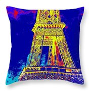 Eiffel Tower In Blue Throw Pillow
