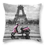 Eiffel Tower In The Rain With Pink Scooter Of Paris. Black And W Throw Pillow