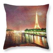 Eiffel Tower Reflections Throw Pillow