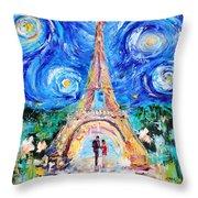 Eiffel Tower Starry Night Romance Throw Pillow