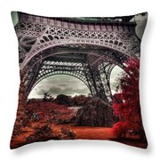 Eiffel Tower Surreal Photo Red Trees Paris France Throw Pillow