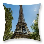Eiffel Tower Through Trees Throw Pillow