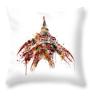 Eiffel Tower Watercolor Throw Pillow