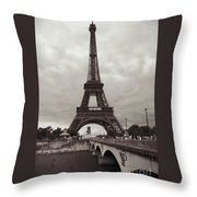 Eiffel Tower With Bridge In Sepia Throw Pillow