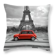 Eiffel Tower With Car. Black And White Photo With Red Element. Throw Pillow