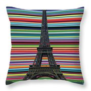 Eiffel Tower With Lines Throw Pillow