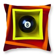 Eight Ball In Box Throw Pillow