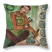 Eight Of Pentacles Illustrated Throw Pillow