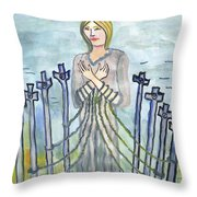 Eight Of Swords Illustrated Throw Pillow