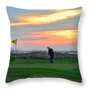 Eighteenth Green At Sunset Throw Pillow