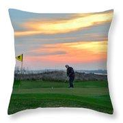 Eighteenth Green At Sunset Throw Pillow