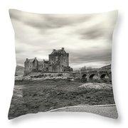 Eilean Donan Castle Bw 1337 Throw Pillow
