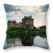 Eilean Donan Castle On A Cloudy Day Throw Pillow