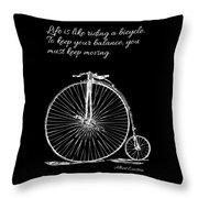 Einstein's Bicycle Quote - White Throw Pillow