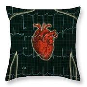 Ekg And Heart Over Torso Throw Pillow