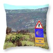 El Camino De Santiago De Compostela, Spain, Sign Throw Pillow