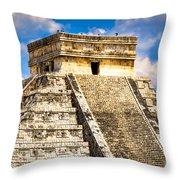 El Castillo - Pyramid At Chichen Itza Throw Pillow by Mark E Tisdale