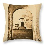 El Morro Fort Barracks Arched Doorways Vertical San Juan Puerto Rico Prints Rustic Throw Pillow by Shawn O'Brien
