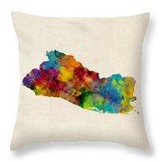 El Salvador Watercolor Map Throw Pillow