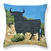 El Toro In The Andalucian Countryside Throw Pillow