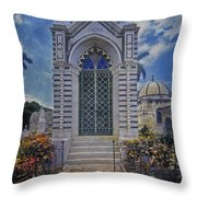 Elaborate Mausoleum  Colon Cemetery Havana Cuba Espada Cemetery Throw Pillow