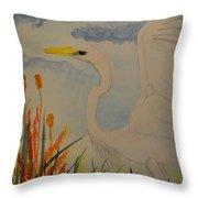 Elana - Egret Throw Pillow