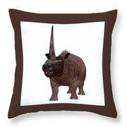 Elasmotherium On White Throw Pillow