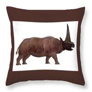 Elasmotherium Side Profile Throw Pillow