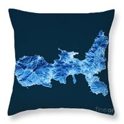 Elba Island Topographic Map Blue Color Top View Throw Pillow