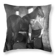 Elderly Blacksmith Shoeing Horse Throw Pillow