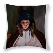 Elderly Lady Reading A Book Throw Pillow
