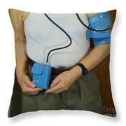 Elderly Man Wearing A Blood Pressure Throw Pillow