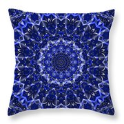 Electric Blue Mandala Throw Pillow