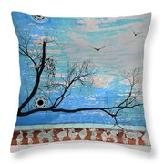 Electric Blue Skies Throw Pillow