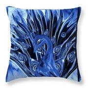 Electric Blues Peacock Throw Pillow