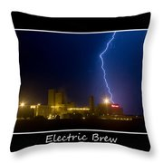 Electric Brew Poster Throw Pillow