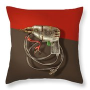 Electric Drill Motor, Green Trigger On Colored Paper Throw Pillow
